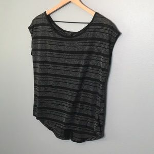 Guess | gray and black striped cap sleeve top M